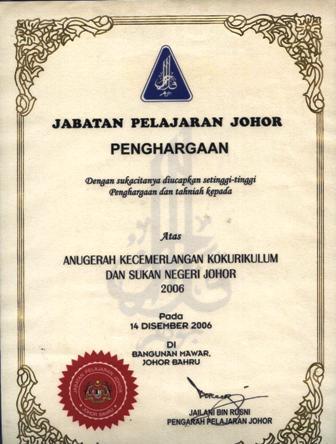 Anugerah Kecemerlangan Kokurikulum dan Sukan Negeri Johor 2006